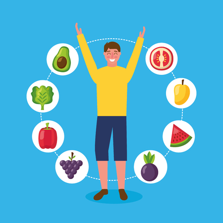 healthy food stickers delicious man hands up vector illustration