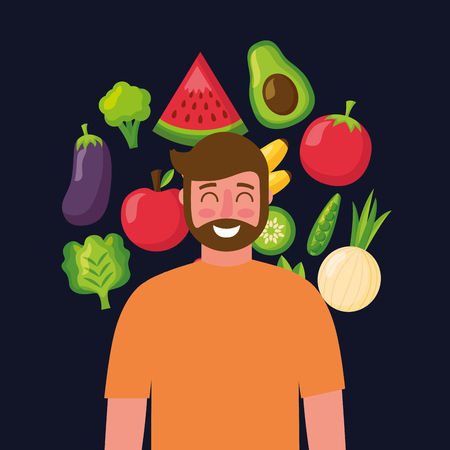 healthy food beard man smiling watermelon avocado tomato onion lettuce vector illustration