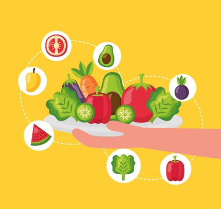 hand holding plate healthy food mango avocado apple lettuce carrot vector illustration