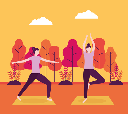 relax outdoor body woman yoga activity vector illustration