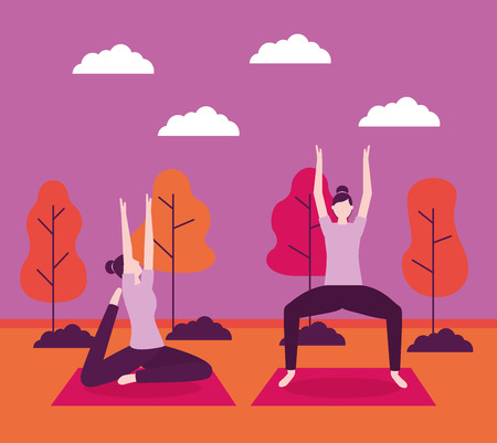yoga activity relaxation body woman outdoor vector illustration