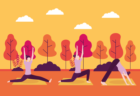 yoga activity sunset relax woman body vector illustration Illustration