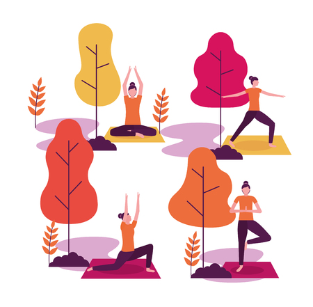 yoga activity steps collage woman relax the body vector illustration