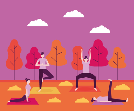 outdoor collage woman stretching yoga activity vector illustration