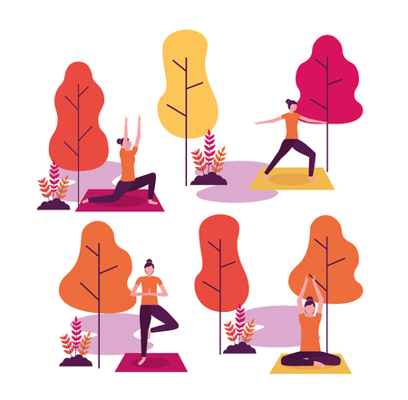 yoga activity park collage woman relaxation vector illustration