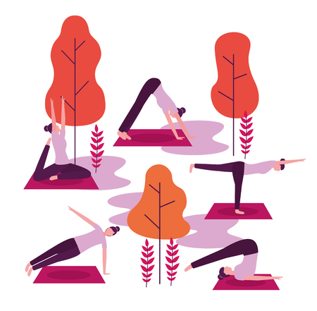stretching boy woman yoga activity vector illustration