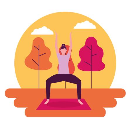 sticker woman sunset outdoor yoga activity vector illustration