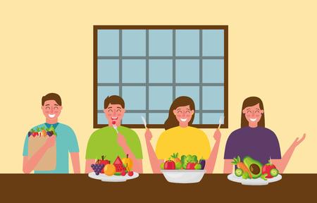 people restaurant eating healthy food vector illustration