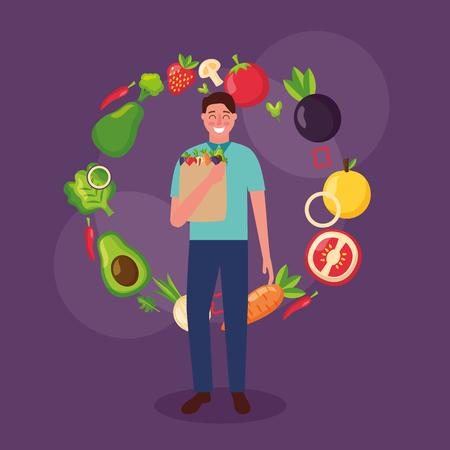 man holding bag healthy food fruits delicious vector illustration Illustration