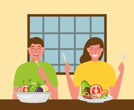 woman and man eating restaurant healthy food vector illustration Banque d'images - 126819983