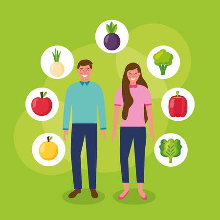 girl and boy healthy food stickers mango tomato beets lettuce vector illustration