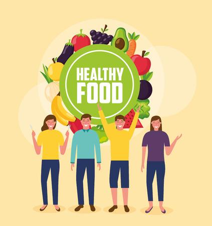 people smiling sticker healthy food vector illustration Illustration