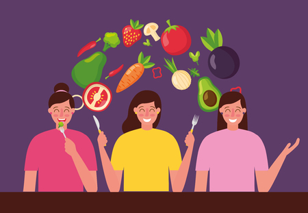 people with cutlery healthy food vector illustration Illustration