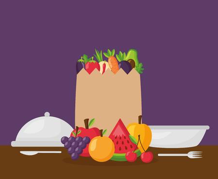 bag plates healthy food grapes mango watermelon cherry apple delicious vector illustration Çizim