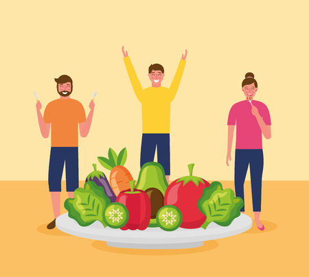 people healthy food plate delicious tomatos mango watermelon lettuces carrot vector illustration Stock Vector - 113813102