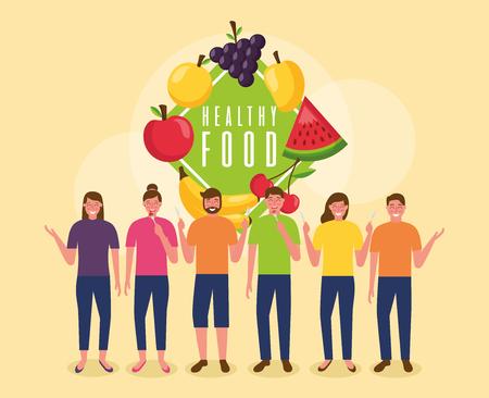 people sticker watermelon mango apple healthy food vector illustration