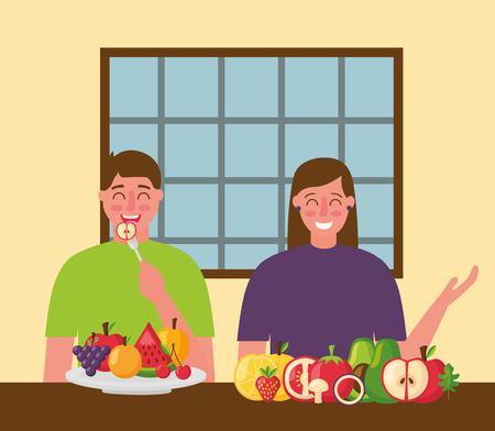 restaurant woman and man eating healthy food vector illustration