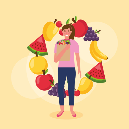 banana mango grapes apple watermelon cherry healthy food vector illustration Illustration