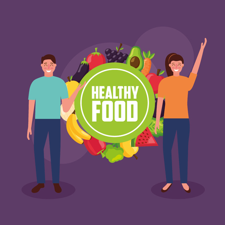 sticker healthy food girl and boy smiling vector illustration