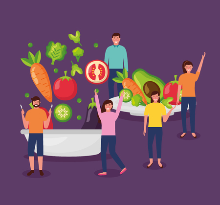people jumping smiling eating healthy food vector illustration