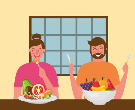 couple smiling eating healthy food vector illustration