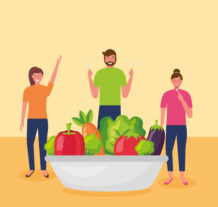 people plate delicious healthy food vector illustration