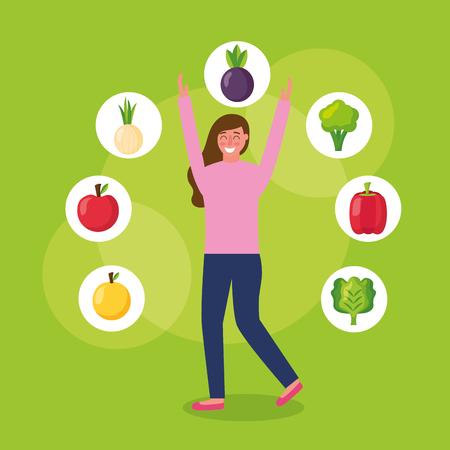 girl jumping healthy food lettuce eggplant mango tomato vector illustration