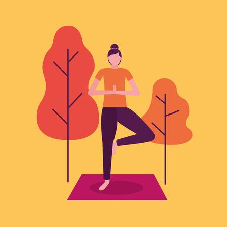 yoga activity  woman outdoor park vector illustration