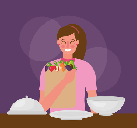 girl holding bag healthy food plates vector illustration