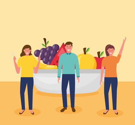 people with plate healthy food vector illustration
