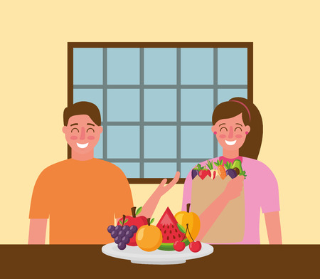 couple smiling with bag plate healthy food vector illustration Illustration