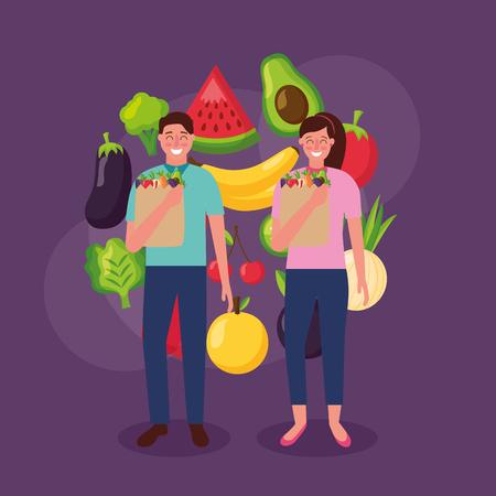 girl and man holding bag healthy food onion avocado watermelon mango vector illustration