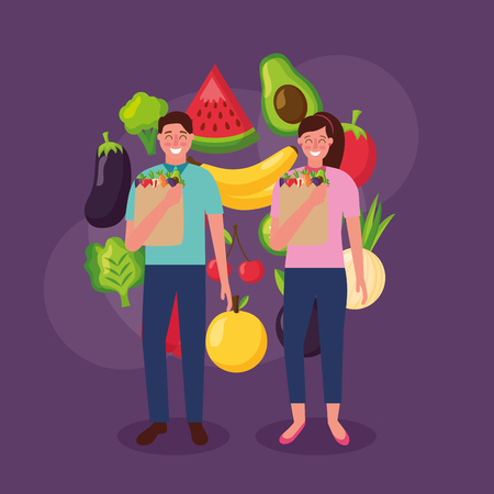 girl and man holding bag healthy food onion avocado watermelon mango vector illustration