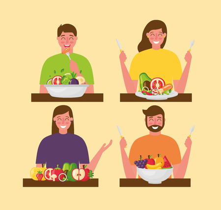 people healthy food plates delicious vector illustration