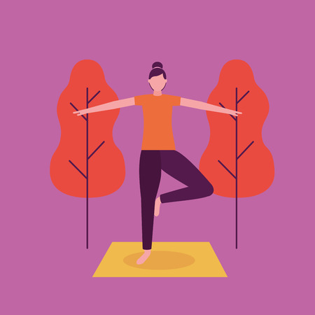 woman in the park hands together yoga activity  vector illustration