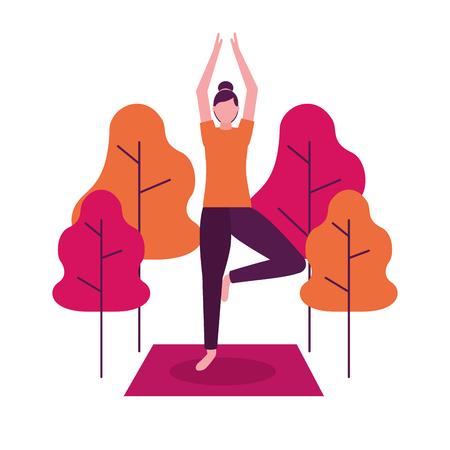 mujer, con, manos arriba, juntos, parque, yoga, actividad, vector, ilustración Ilustración de vector