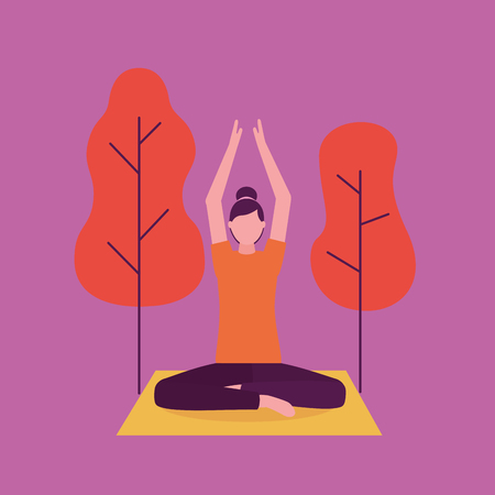 park outdoor woman yoga activity  hands up vector illustration  イラスト・ベクター素材