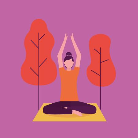park outdoor woman yoga activity  hands up vector illustration Illustration