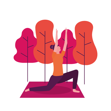 park woman hands up yoga activity  vector illustration
