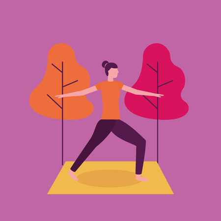 yoga activity  park outdoor woman stretching vector illustration
