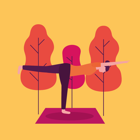 woman park yoga activity  stretching legs vector illustration