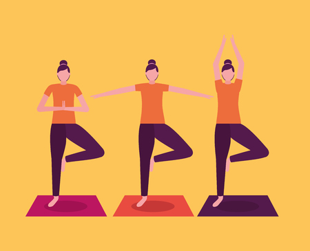 women collage yoga activity  stretching body vector illustration  イラスト・ベクター素材