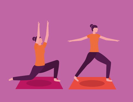 woman yoga activity  stretching body vector illustration