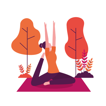 woman stretching arms and leg yoga activity  vector illustration Illusztráció