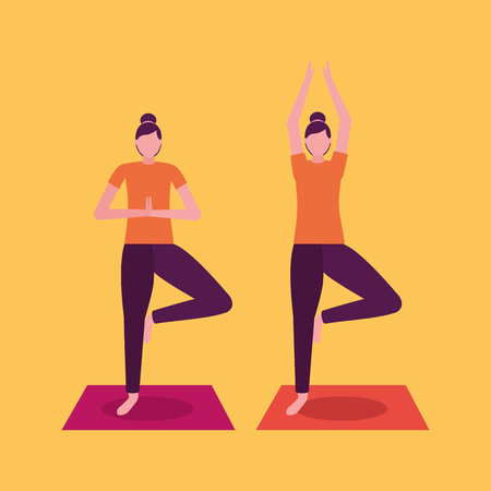 yoga activity  woman stretching arms vector illustration