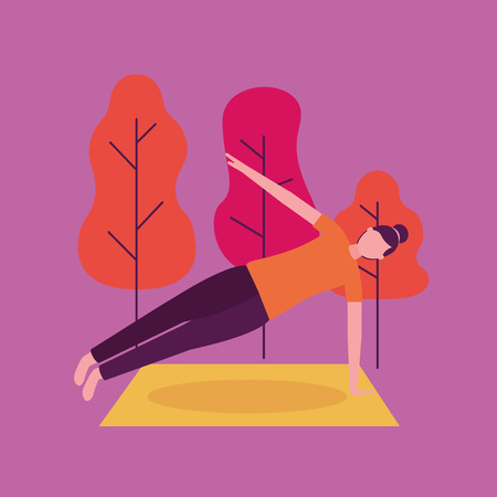 park woman yoga activity  holding body with hand vector ilustration
