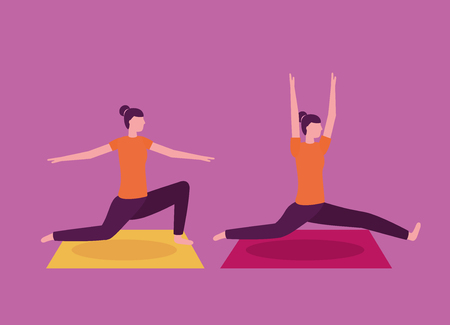 yoga activity  woman collage stretching body vector illustration