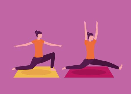 yoga activity  woman collage stretching body vector illustration Archivio Fotografico - 113813079