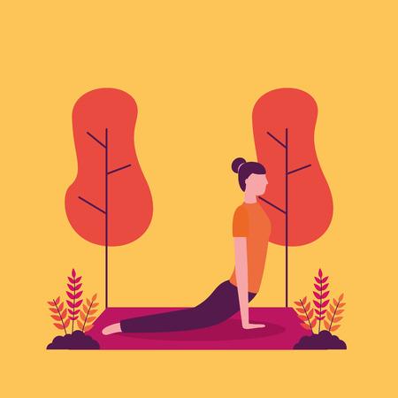 Parque de actividades de yoga chica al aire libre estirando el cuerpo hacia adelante ilustración vectorial