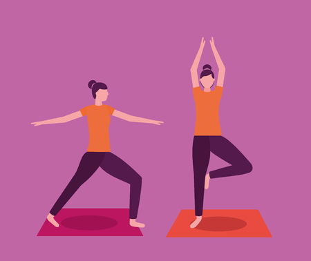 yoga activity  collage girl stretching body vector illustration